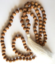 Load image into Gallery viewer, Sandalwood Mala 8mm bead knotted with white silk tassel