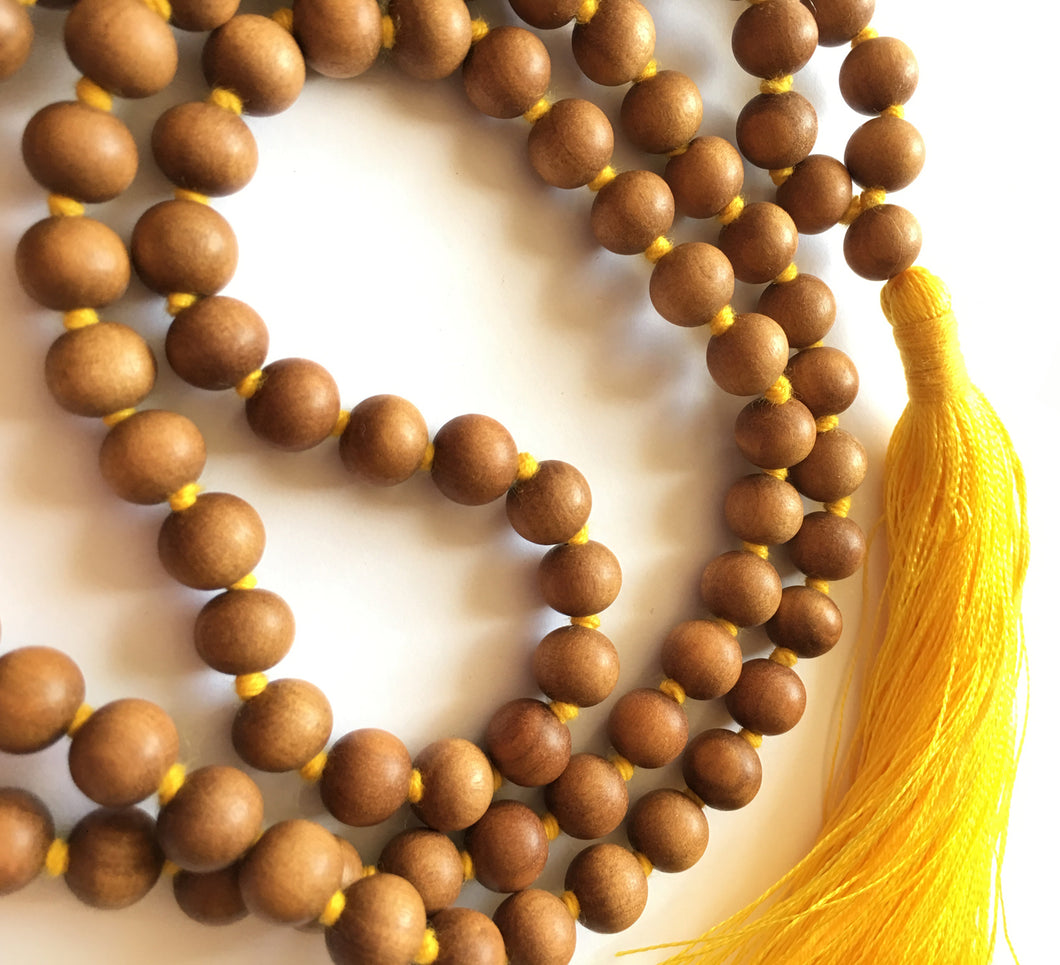 Sandalwood Mala 8mm bead knotted with yellow silk tassel