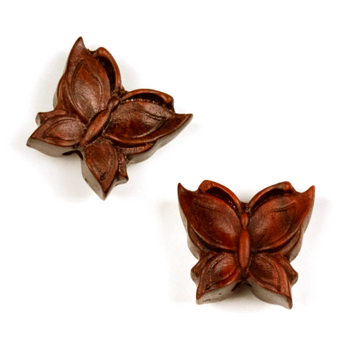 Butterfly Pair of Sandalwood Ojime Beads in Small Size