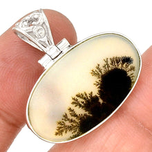 Load image into Gallery viewer, Scenic Dendrite Agate pendant in Sterling Silver Oval Frame