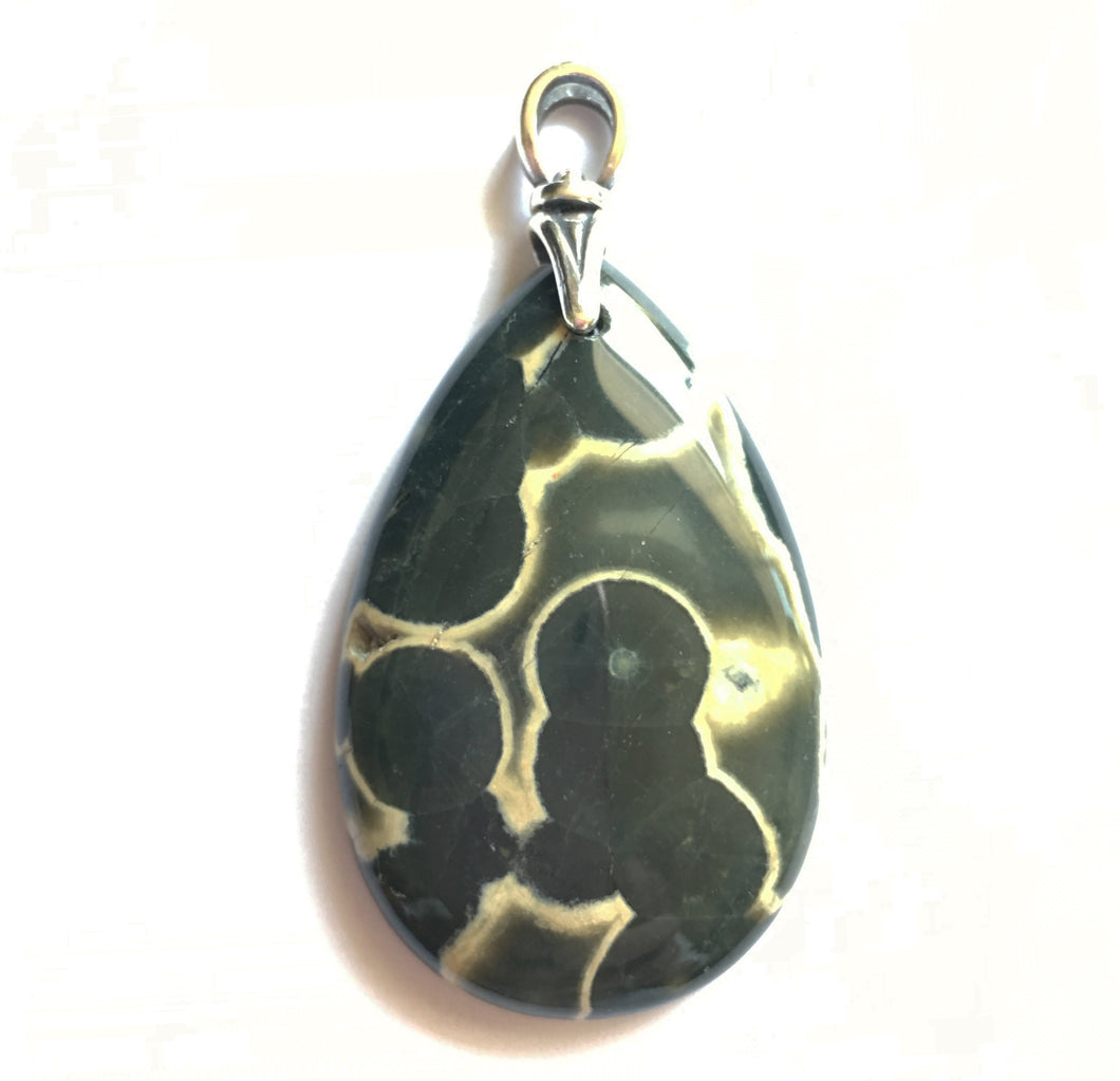 Ocean Jasper Pendant with reproduction art deco sterling silver bail