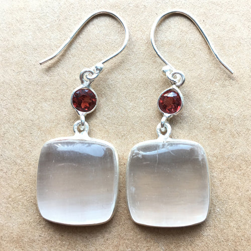 Selenite Earrings with Garnet Accents