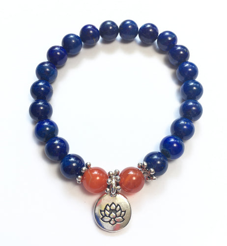 September Birthstone Lapis Bead Bracelet with Carnelian and Lotus Charm