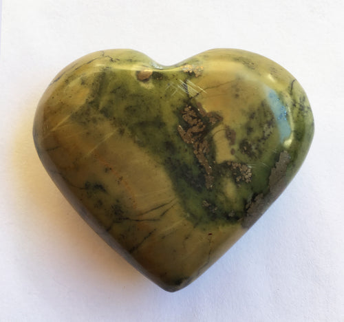 Serpentine Heart 2-1/5 Inch Slightly Puffed Heart in Olive Hues