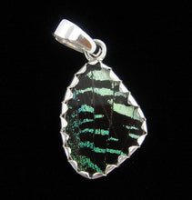 Load image into Gallery viewer, Butterfly Wing Pendant Green Banded Urania Leilus Extra Small Wing Shape