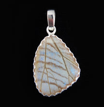 Load image into Gallery viewer, Pearl Blue Morpho Butterfly Pendant in size Small