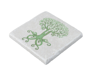 Tree of Life and Love Stone Coaster in Green