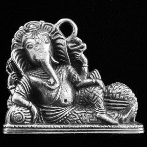 Lord Ganesh Reclining Silver-Plated Brass Charm