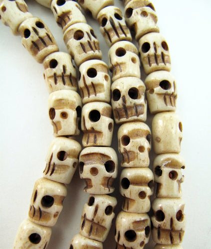 Small Water Buffalo Bone Skull 42 Inch Mala Prayer Beads