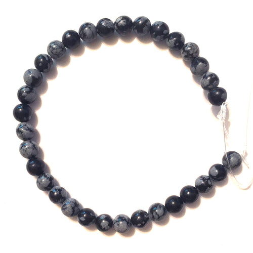 Snowflake Obsidian 6mm Round Beads