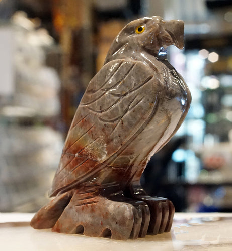 Eagle Figurine Soapstone Carving - Hold it to boost your endocrine system.