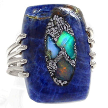 Load image into Gallery viewer, Ethiopian Opal In Sodalite Ring in Sterling Silver in size 9-1/2