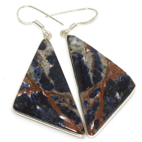 Sunset Sodalite Earrings Sterling Silver Triangles