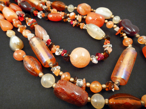 Solar Flair Necklace of Carnelian, Citrine, bone and tumbled glass