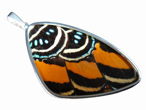 Butterfly Wing Pendant Speckled Numberwing in Sterling Silver in Extra Large Size