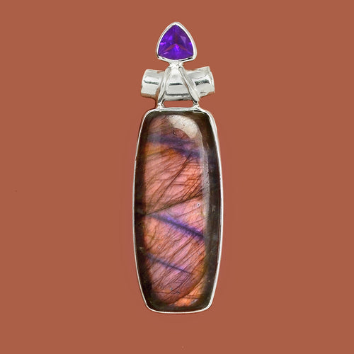 Spectrolite Pendant with tube bail and Amethyst