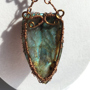 Labradorite Pendant in Copper Wire Wrap Pendant of Tree of Life with Matching Chain