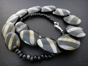 Zebra Stripe Horn Bead Necklace