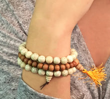 Load image into Gallery viewer, Bodhi Seed Mala Bracelet of white lotus seeds