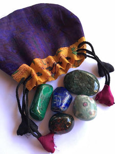 Success stones master set of five stones in a silk sari drawstring pouch
