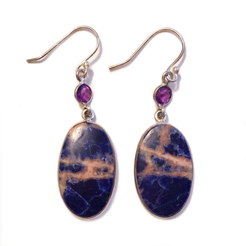 Sunset Sodalite Earrings with Amethyst Gemstones