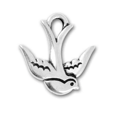 Swallow Charm Silver Plated Pewter Charm with Antique Finish