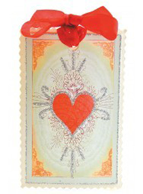 Victorian Heart Gift Tag - Love Letters Heart Tag with Glittered Embellishment and Red Ribbon