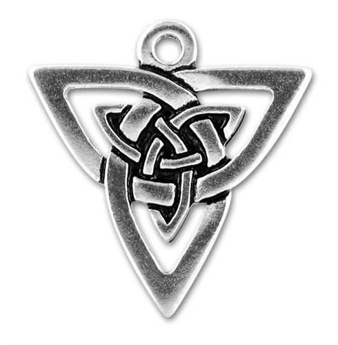 Triangle Celtic Knot Charm in Antique Silver-Plated Pewter by TerraCast