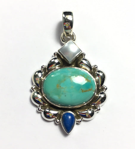 Turquoise Pendant with Lapis Lazuli Accent Silver Medallion