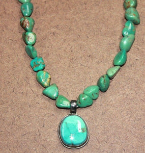 Sleeping Beautify Turquoise Necklace Pendant with Green Turquoise Necklace Beads Santa Fe Design
