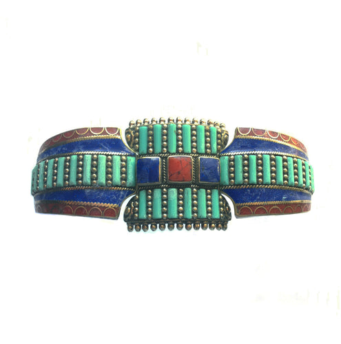 Tibetan Turquoise Bracelet with Lapis Lazuli and Red Coral
