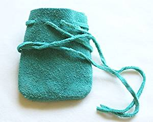 Suede Leather Drawstring Pouch in Teal Green