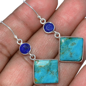 Turquoise Earrings with Lapis Lazuli