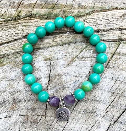 December Birthstone Bracelet Turquoise and Amethyst