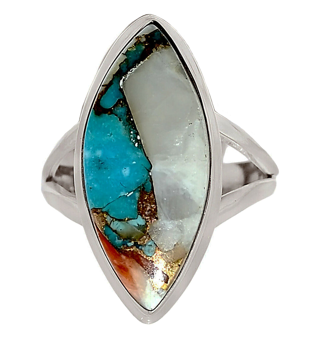 Spiny Oyster and Turquoise Ring size 9