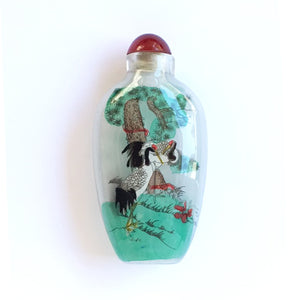 Red Crested Cranes Glass Snuff Bottle Ornament Painted with 2-Hair Brush in Reverse