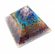 Load image into Gallery viewer, Chakra Orgonite Pyramid 70mm size