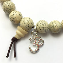 Load image into Gallery viewer, White Lotus Seed Wrist Mala Bracelet with Charm