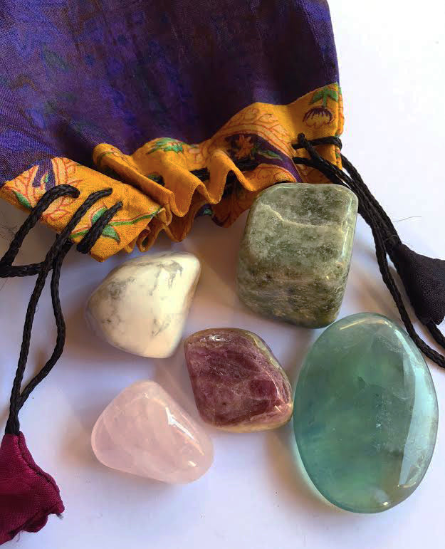 Whole Lotta Love Stones Master set of five stones in a silk sari drawstring pouch
