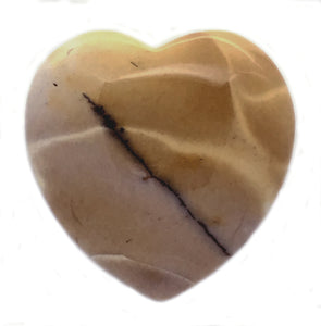 Mookaite Jasper Puffy Heart 45mm in Yellow Ochre Hues