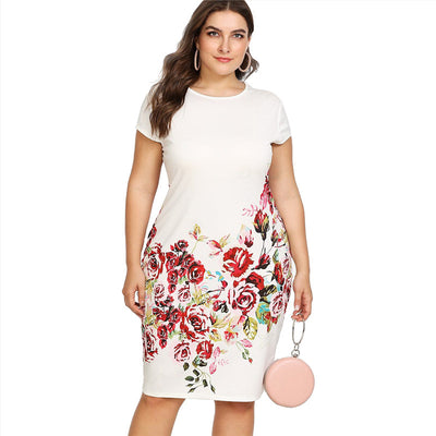 Floral Print Pencil Dress  Summer Round Neck Short Cap Sleeve Dress Women White Plus Size Elegant Dress - Exclusive Fashions