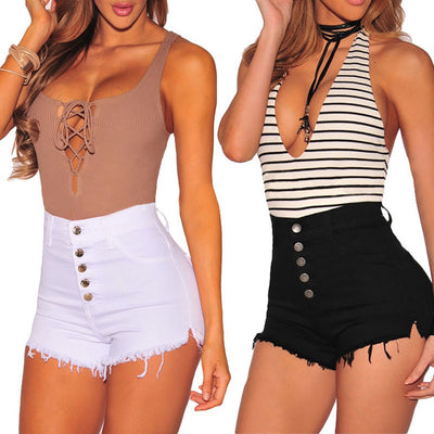 Summer Women Casual High Waisted Short Mini Button Short Pants Black White Sexy Shorts - Exclusive Fashions