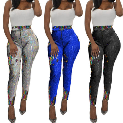S-3XL Pencil Pants Color Sequined Street Office Long Leggings Women Lady Street Beach Casual Pants - Exclusive Fashions