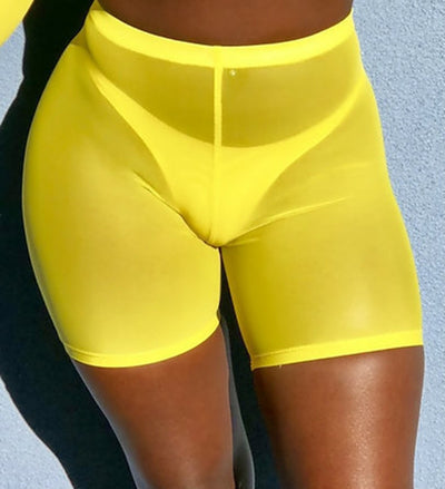 Women Mesh Transparent Shorts High Waist Club Wear Sweatpants Biker Bodycon Street Shorts - Exclusive Fashions