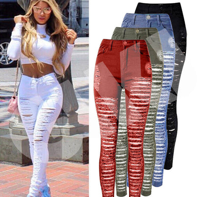 Sexy Women Destroyed Ripped Denim Jeans Skinny Hole Pants High Waist Stretch Jeans Slim Pencil Trousers Black White Blue - Exclusive Fashions