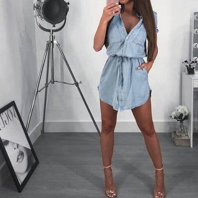 Casual Denim Dress Women Pocket Fashion Short Sleevs Turn Down Collar Shirt Dress Jeans With Belt - Exclusive Fashions
