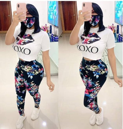 Sexy XoXo Tee Shirt With Floral Pants & Mask Women Three Piece Set 2020