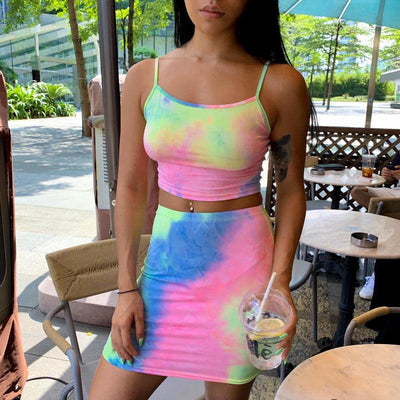 Explosion models  autumn new tie dyed straps tube top skirt fashion suit female