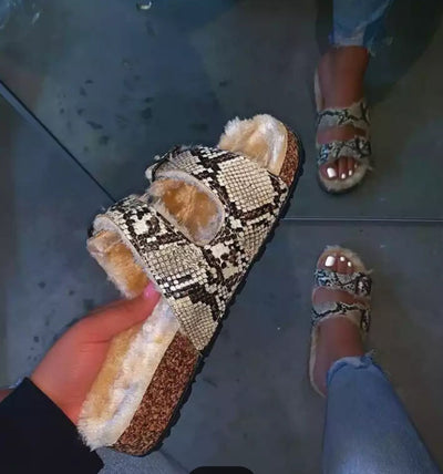Spring Women Fur Slippers Snake Skin Shoes Flat - Exclusive Fashions