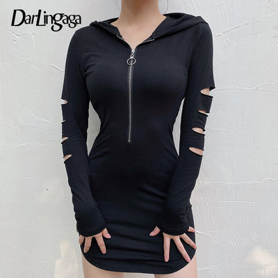 Darlingaga Casual Zipper Bodycon Hooded Black Dress  Ripped Long Sleeve Autumn 2020 Dress - Exclusive Inspirational Designs